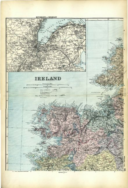 1891 Antique Map IRELAND NW Environs HOUSES Farms RAILWAYS Stations BELFAST